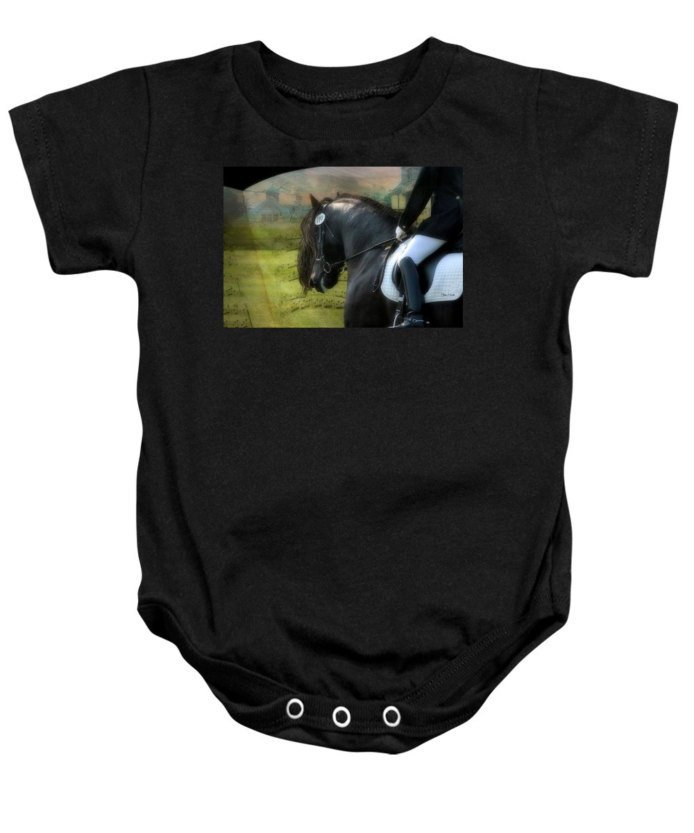 Friesian Horses Baby Onesie featuring the digital art Musical Freestyle by Fran J Scott