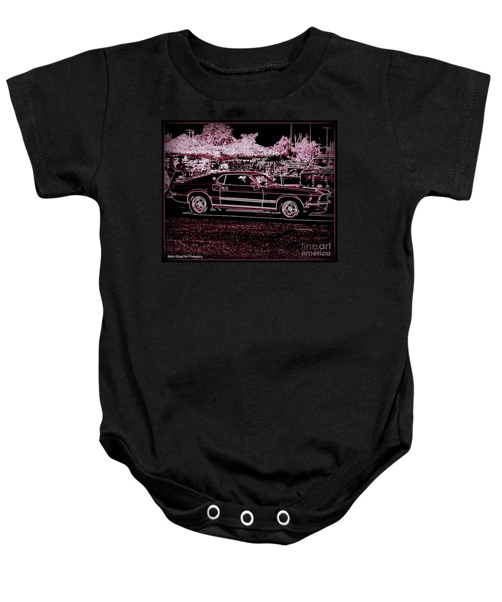 Classic Car Prints Baby Onesie featuring the digital art Mustang Rose by Bobbee Rickard