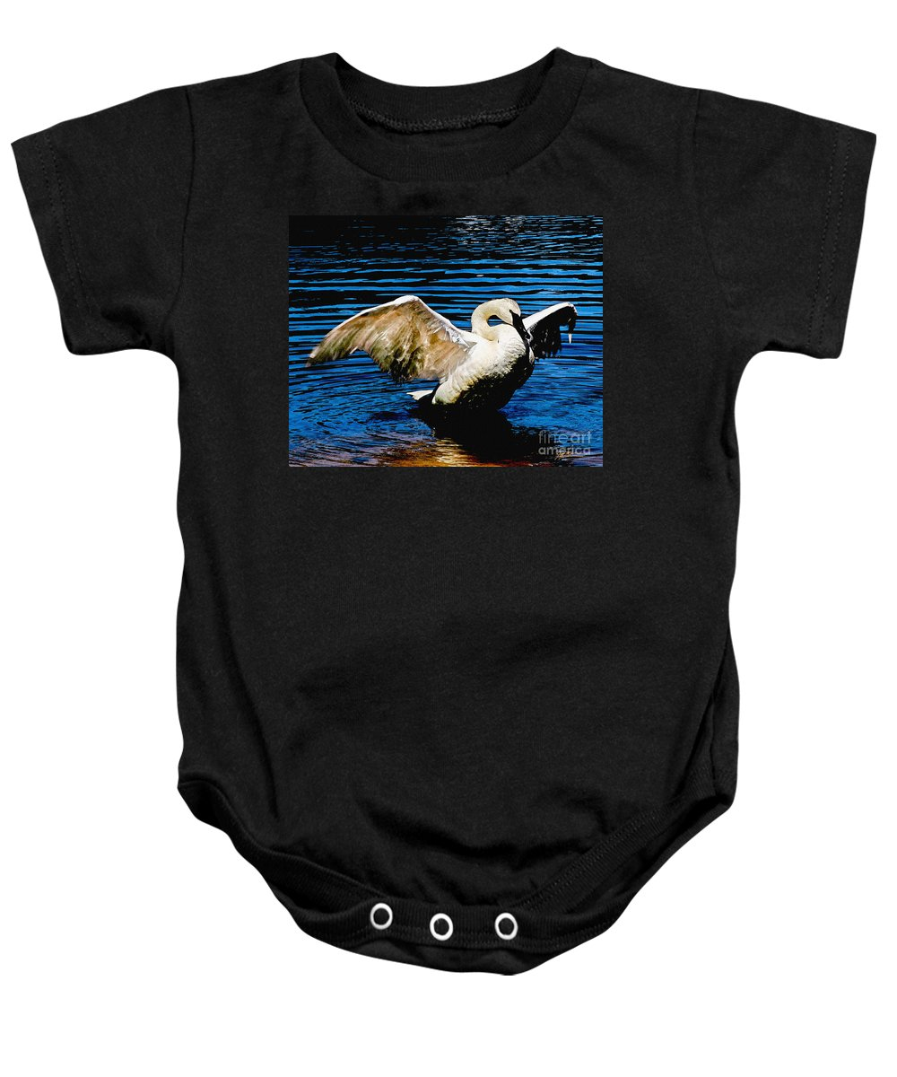 Watercolor Baby Onesie featuring the photograph Mute Swan Majesty by Jeff McJunkin