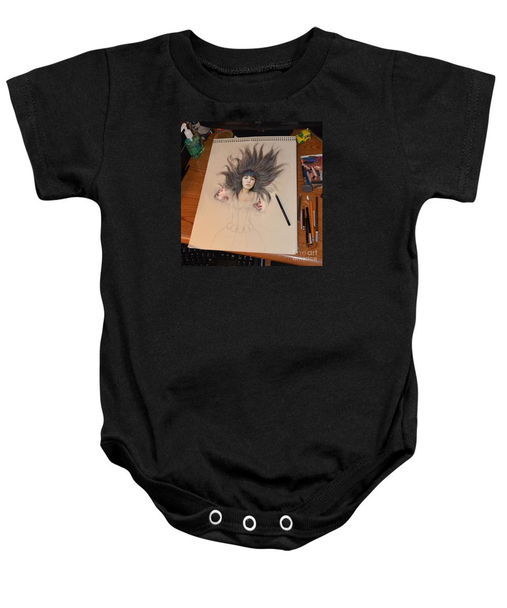 Brown Haired Baby Onesie featuring the digital art My Drawing Of A Beauty Coming Alive by Jim Fitzpatrick