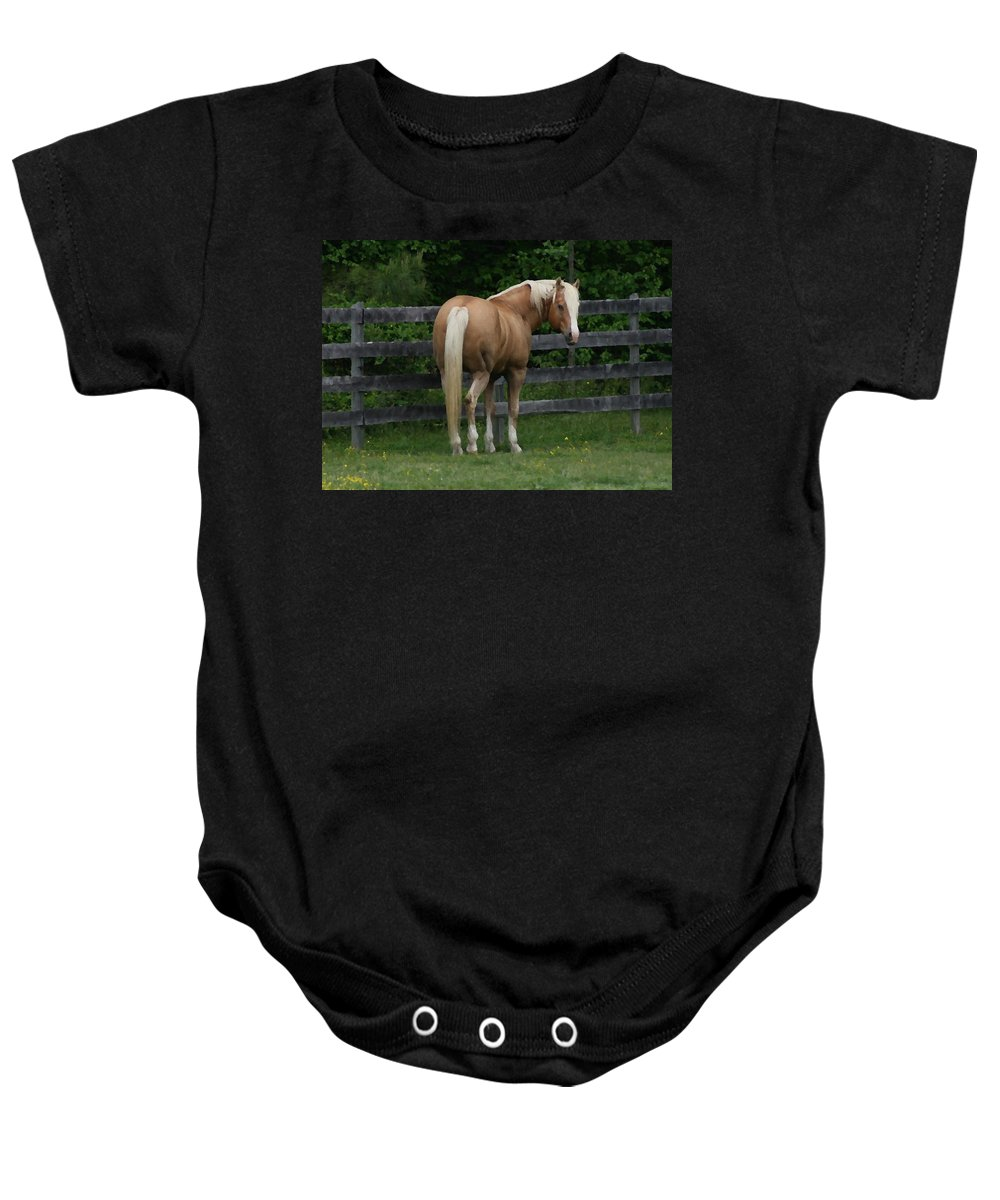 Horse Baby Onesie featuring the digital art My Dream Horse by Tina Meador