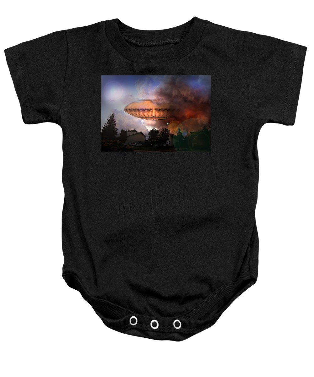 Surrealism Baby Onesie featuring the digital art Mystic Ufo by Otto Rapp