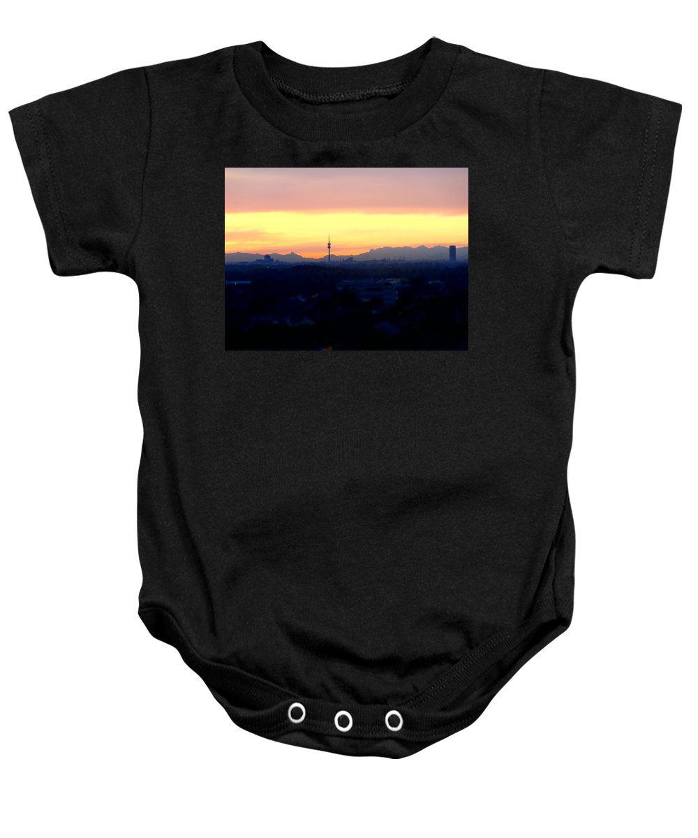 Munich Baby Onesie featuring the photograph Mystical Munich Skyline With Alps During Sunset by M Bleichner