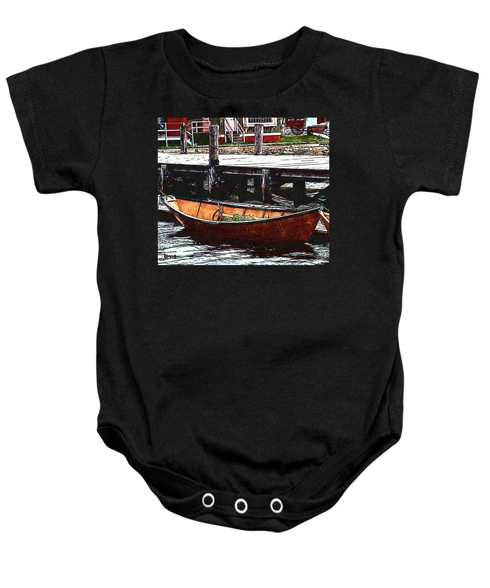 Boats Baby Onesie featuring the painting Nantucket Sleigh Ride Whaleboat by RC DeWinter