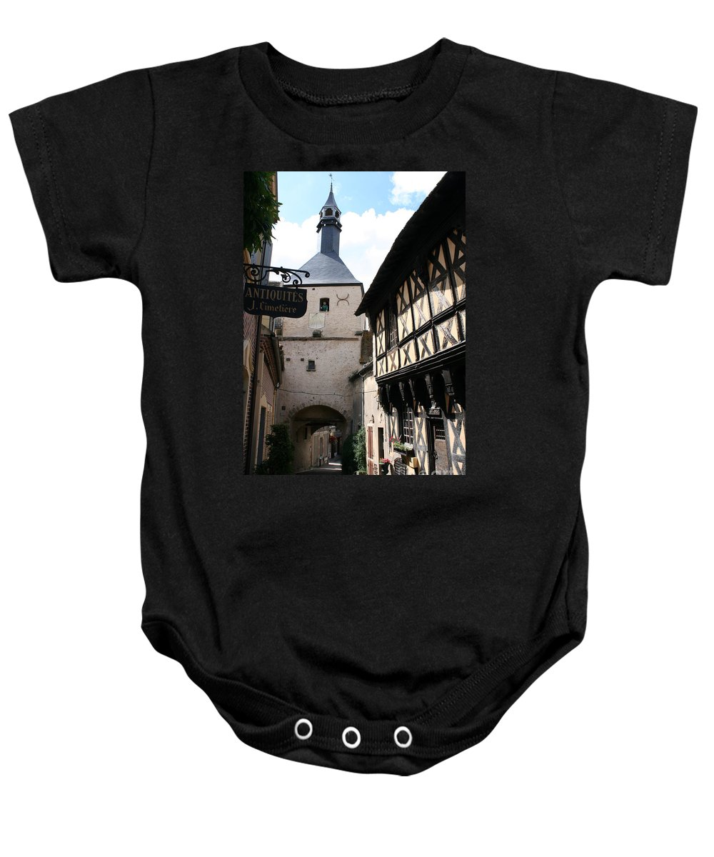 Alley Baby Onesie featuring the photograph Narrow Alley In Bourbon Lancy by Christiane Schulze Art And Photography