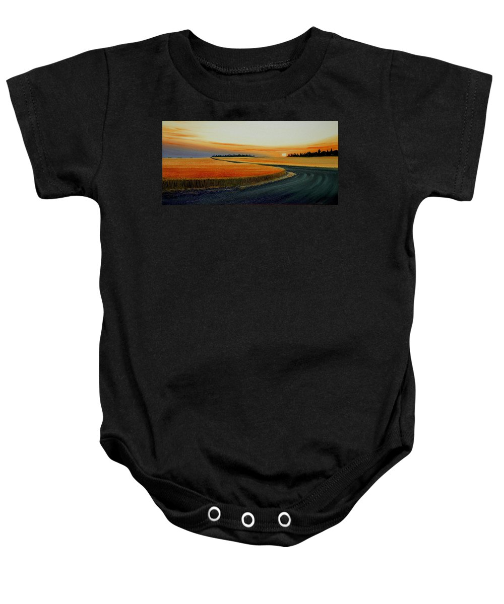 Wheat Baby Onesie featuring the painting Near Moscow by Leonard Heid