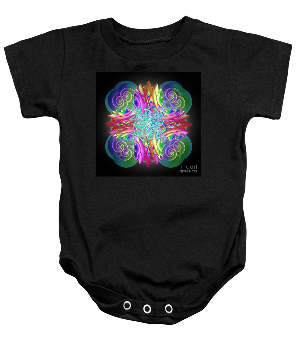 Rainbow Baby Onesie featuring the digital art Neon Dreams by Sara Raber