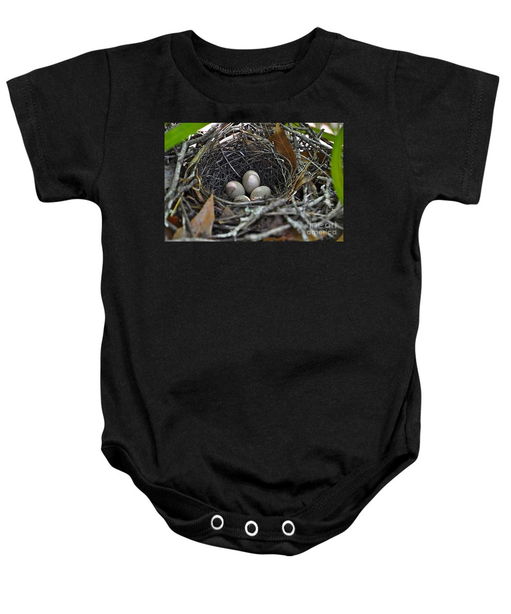 Bird Nest Baby Onesie featuring the photograph Nest Eggs by Al Powell Photography USA