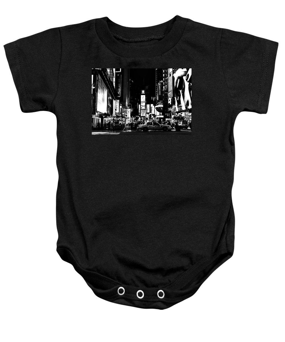 Streets Of New York Baby Onesie featuring the photograph Never Sleeping In Black by Digital Kulprits