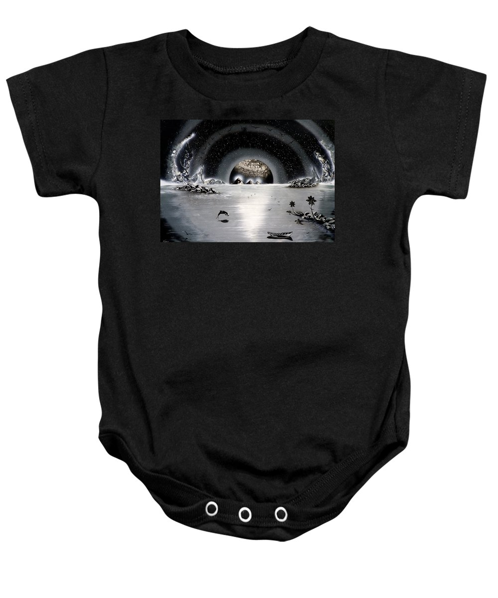 Baby Onesie featuring the painting New Age Moonset by Ronny Or Haklay