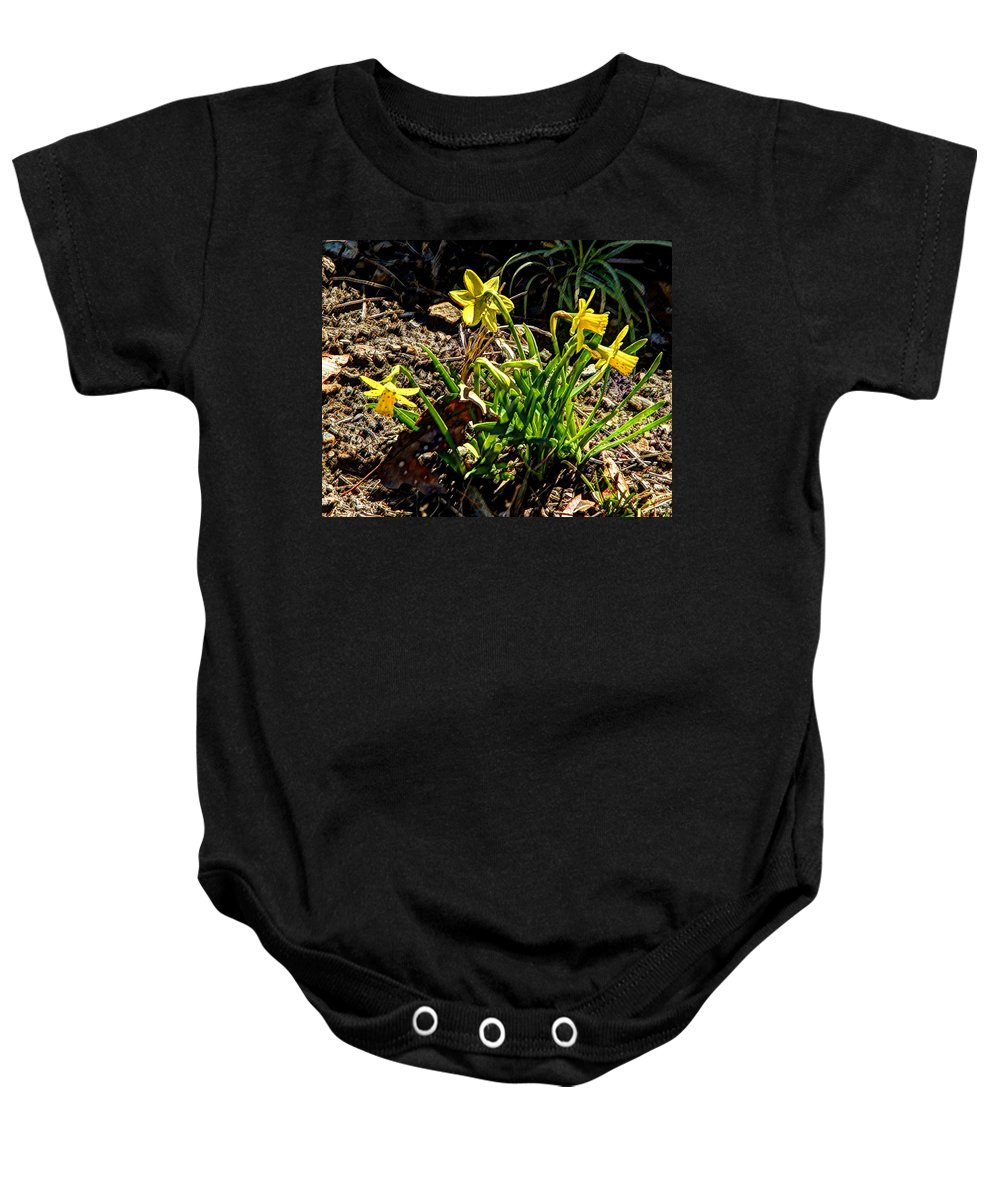Hdr Baby Onesie featuring the photograph New Yellow Flowers 1 by John Straton