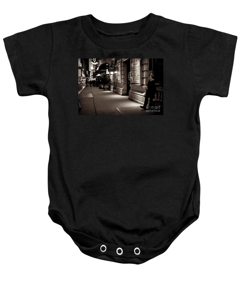 New York Baby Onesie featuring the photograph New York At Night - The Phone Call - Theatre District by Miriam Danar
