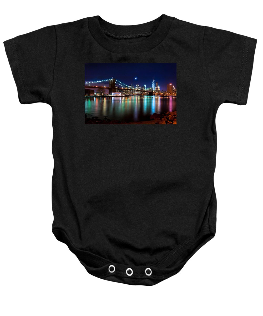 New York Baby Onesie featuring the photograph New York Skyline And Brooklyn Bridge With Crescent Moon Rising by Mitchell R Grosky