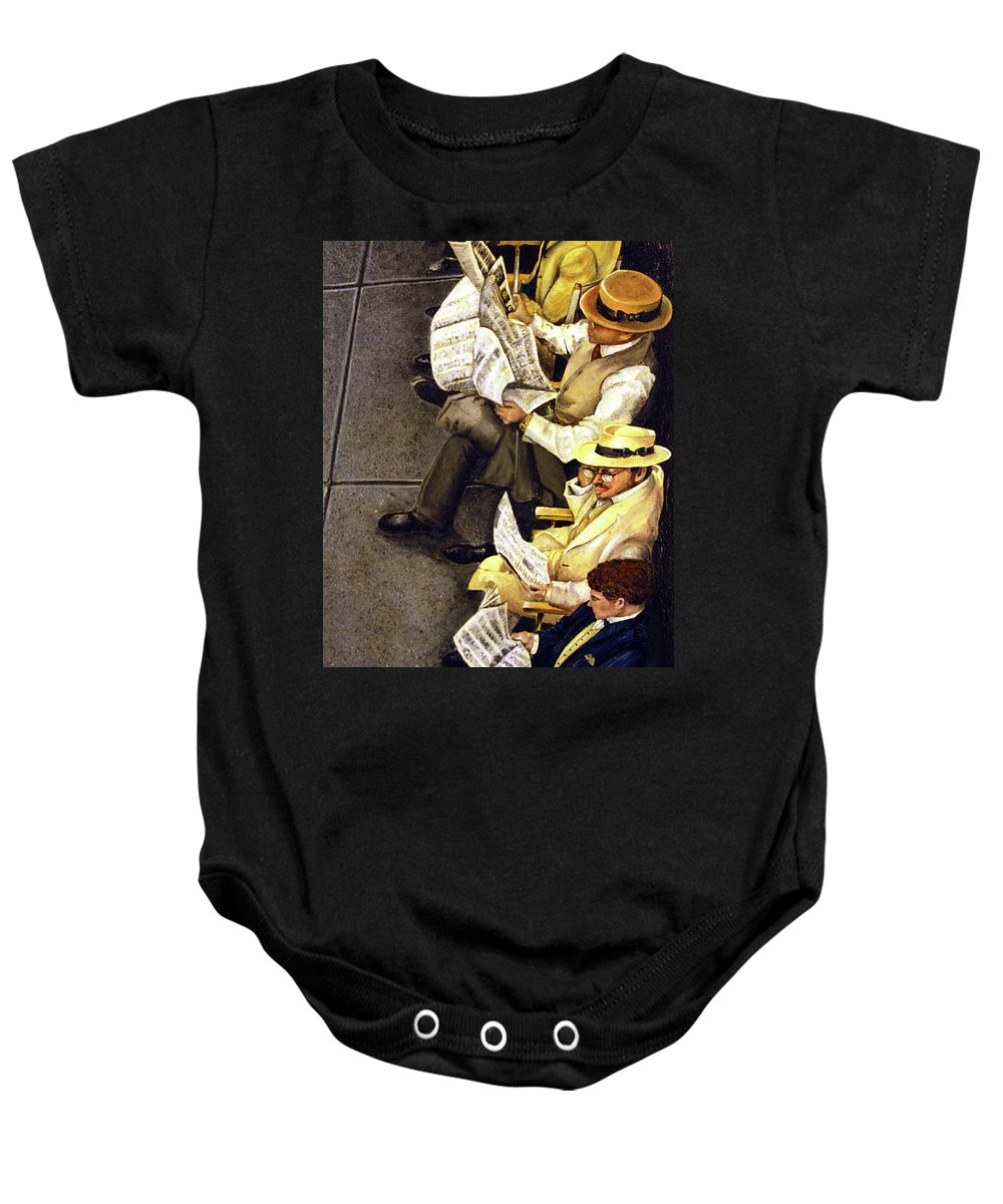 Newspaper Baby Onesie featuring the painting New York Times by Linda Simon
