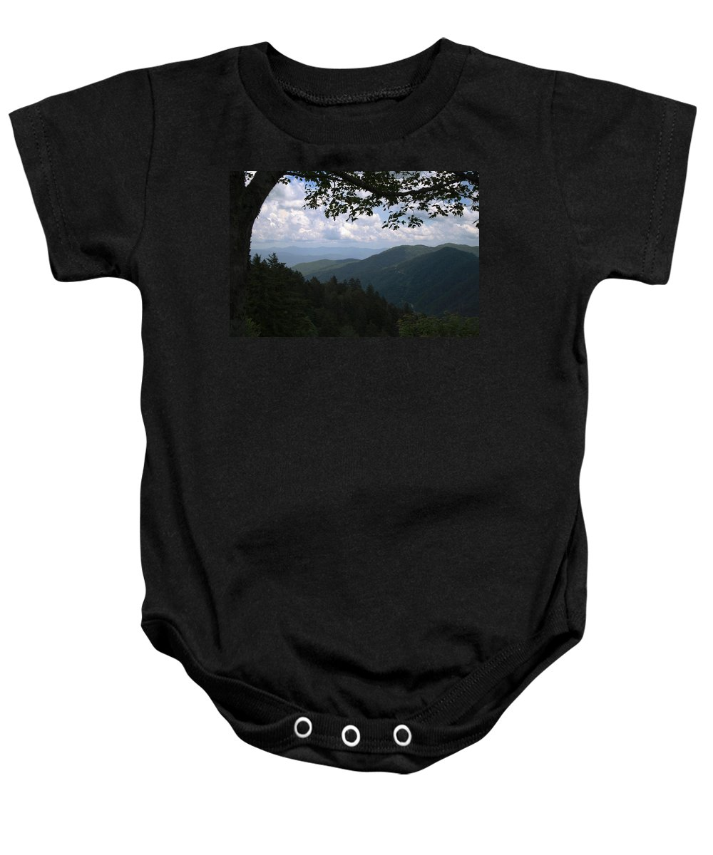 Newfound Gap Baby Onesie featuring the photograph Newfound View by Dan McCafferty