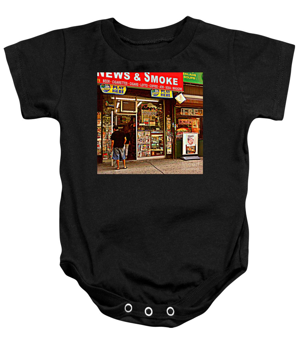Convenience Store Baby Onesie featuring the photograph News And Smoke - Play Here by Miriam Danar