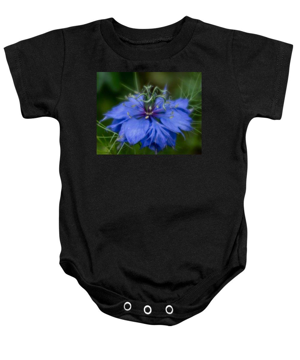 Blue Flower Baby Onesie featuring the photograph Nigella Damascena by Greg Nyquist