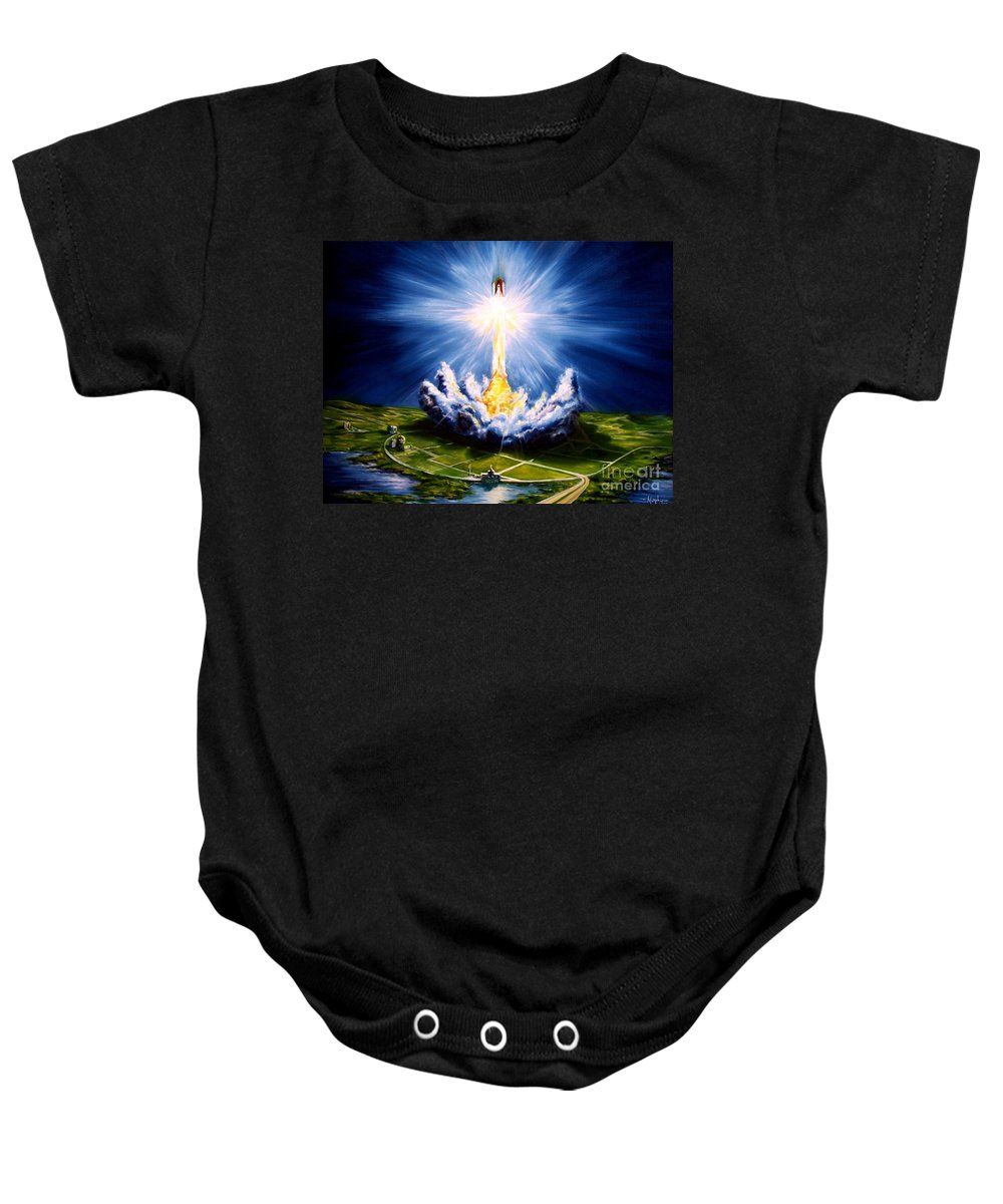 Landscape Baby Onesie featuring the painting Night At The Cape by Murphy Elliott