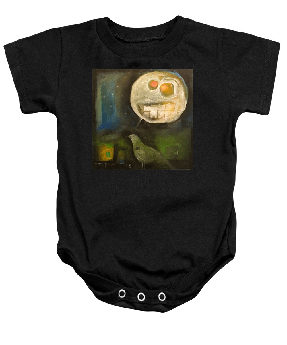 Moon Baby Onesie featuring the painting Night Bird Harvest Moon by Tim Nyberg