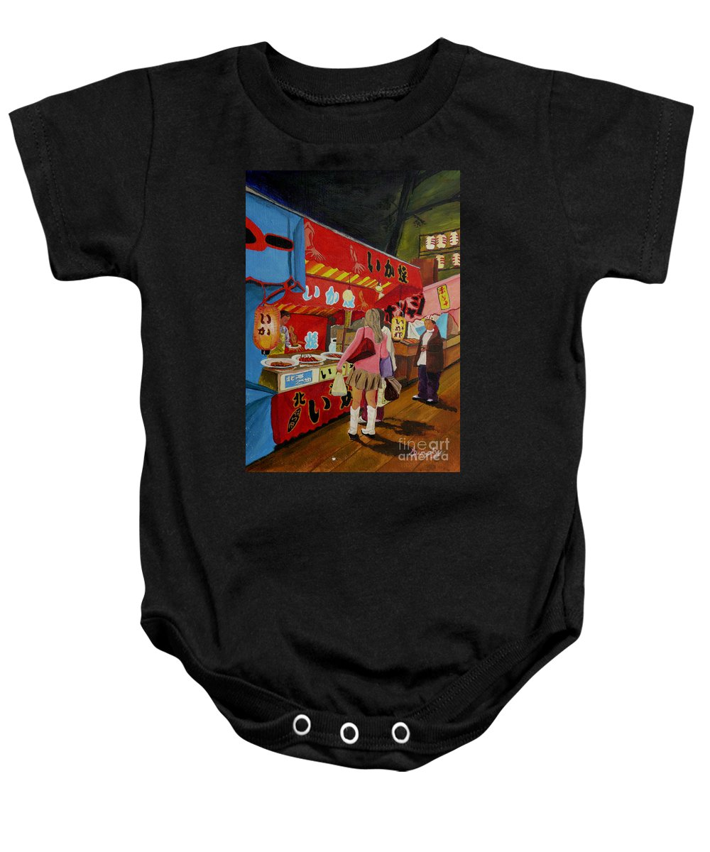 Japan Baby Onesie featuring the painting Night Festival by Anthony Dunphy