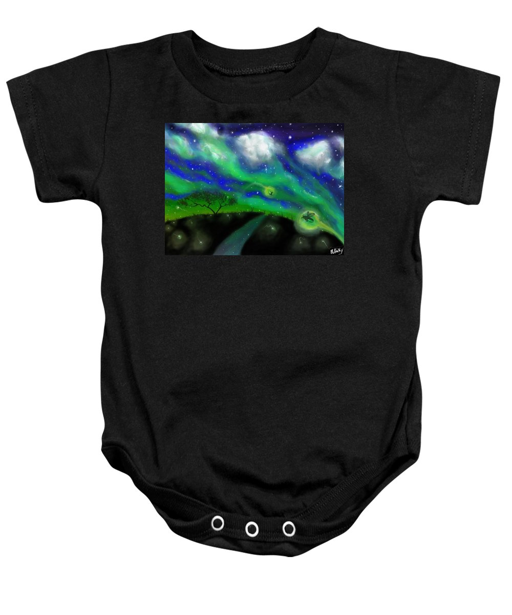 Fireflies Baby Onesie featuring the painting Night Of The Fireflies by Gary Bolinky
