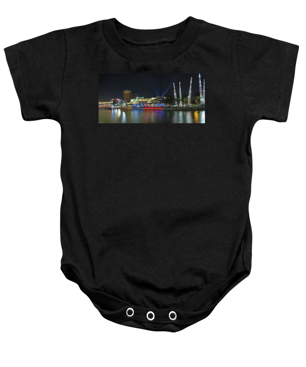 Clarke Baby Onesie featuring the photograph Nightlife At Clarke Quay Singapore by Jit Lim