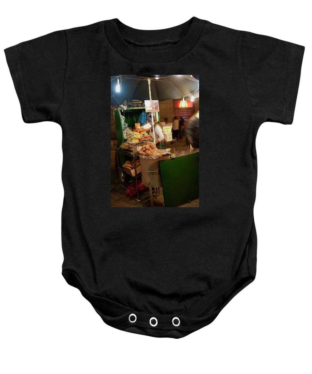 Madrid Baby Onesie featuring the photograph Nighttime Vendor by Lorraine Devon Wilke