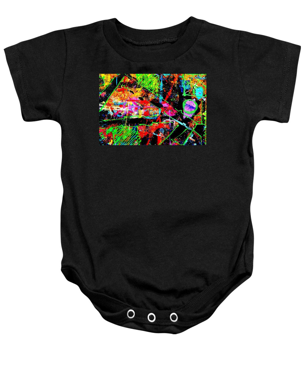 Abstract Baby Onesie featuring the painting Nighttown Jazz I by John Nolan