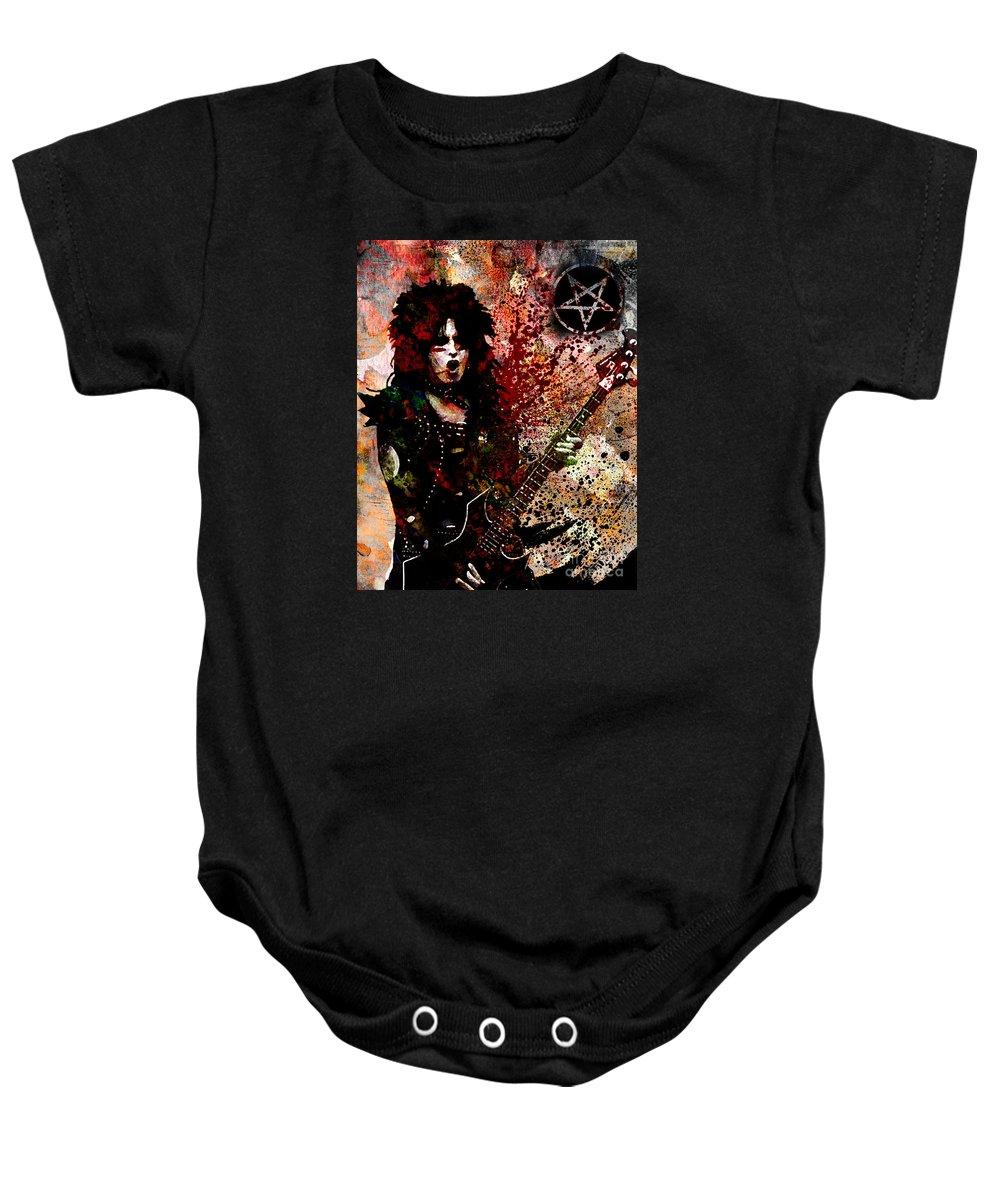 Rock N Roll Baby Onesie featuring the painting Nikki Sixx - Motley Crue by Ryan Rock Artist