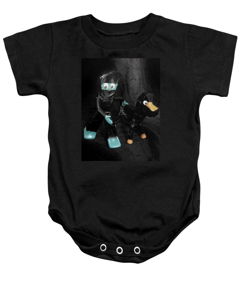 Ninja Baby Onesie featuring the photograph Ninja Gumby And Ninja Pokey Too by Del Gaizo