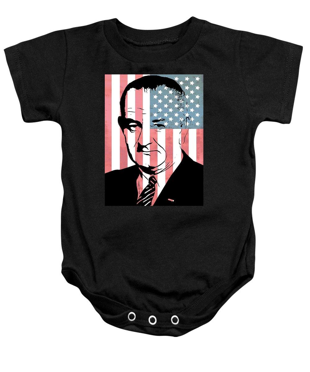 Lyndon Johnson Baby Onesie featuring the digital art Lyndon Johnson by Dan Sproul