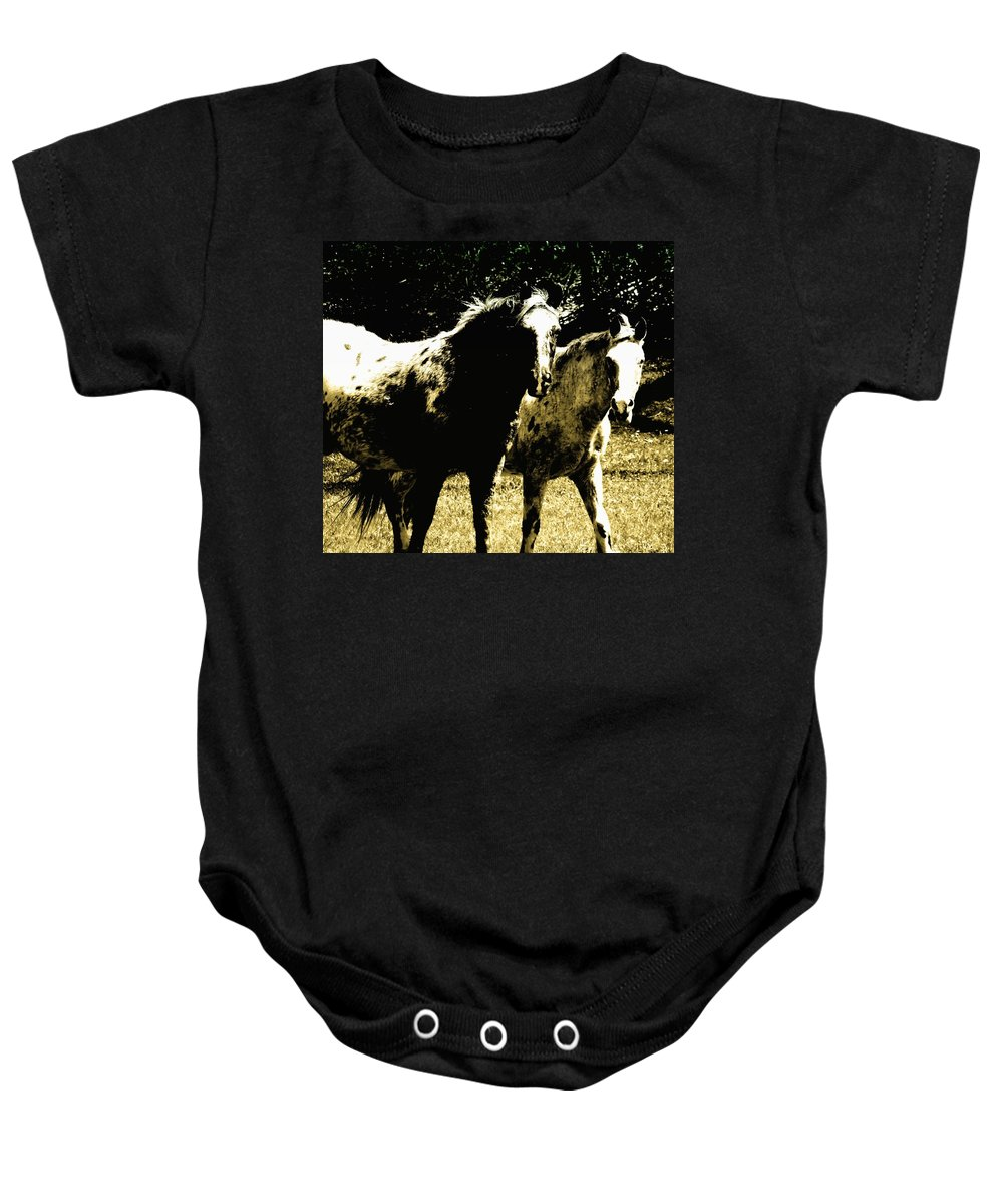 Horses With No Name Baby Onesie featuring the photograph No Name by Lisa Brandel