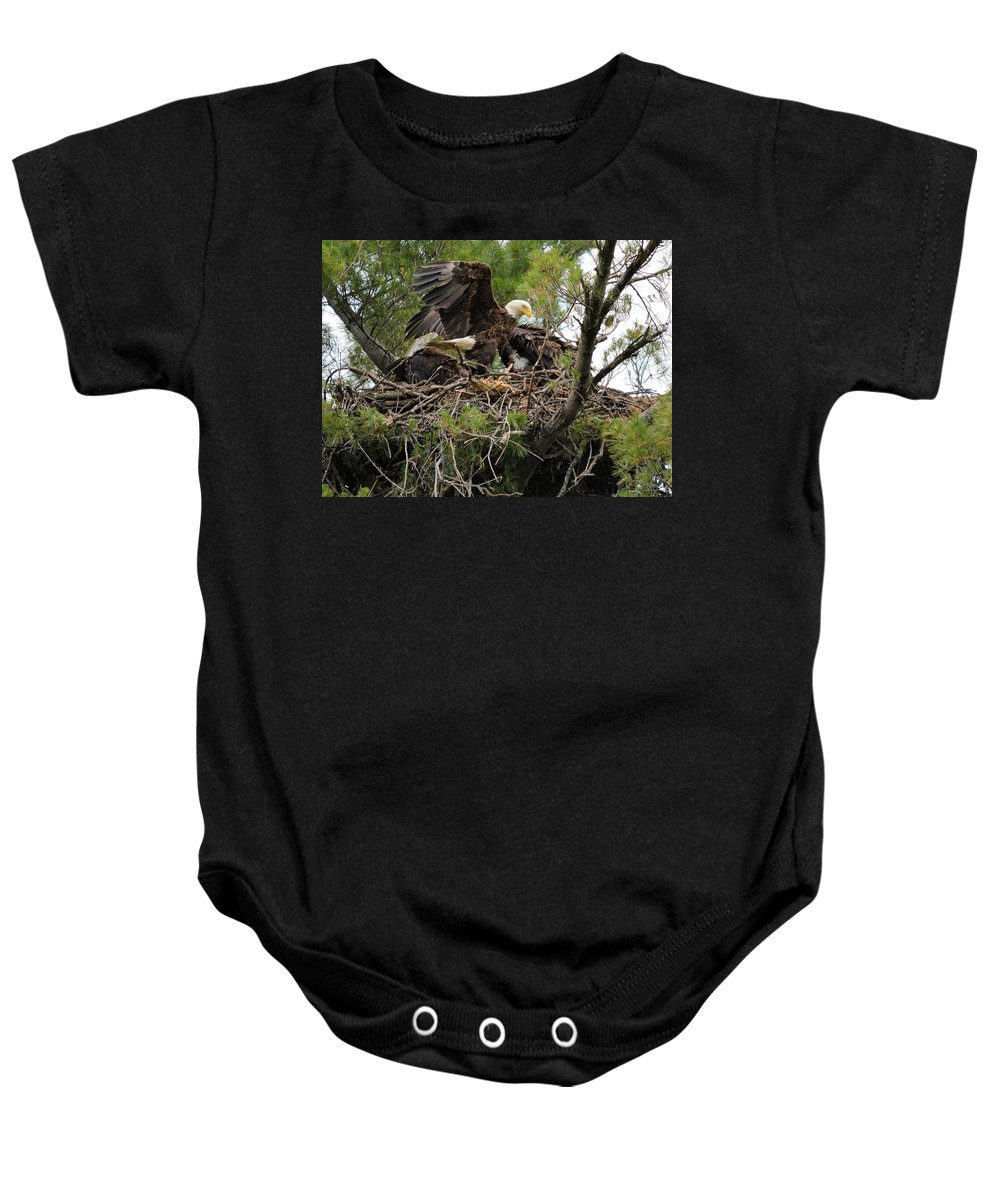 Eagle Baby Onesie featuring the photograph No Room by Bonfire Photography