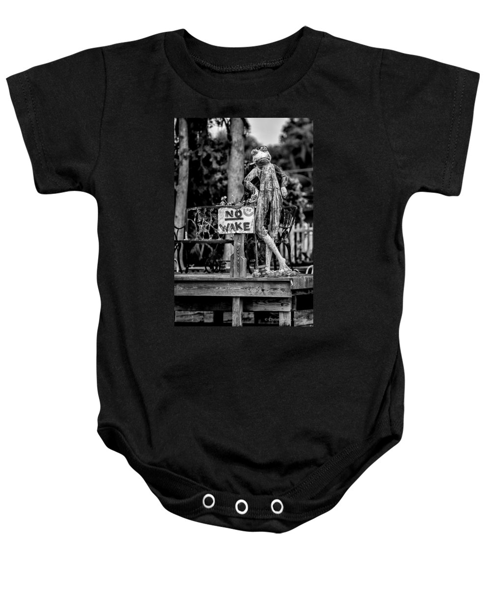 Christopher Holmes Photography Baby Onesie featuring the photograph No Wake - Bw by Christopher Holmes