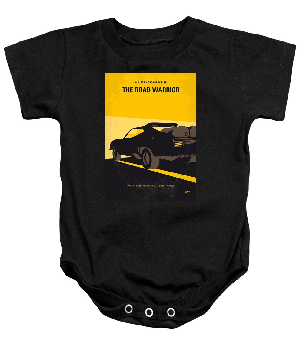 Road Warrior Baby Onesie featuring the digital art No051 My Mad Max 2 Road Warrior Minimal Movie Poster by Chungkong Art