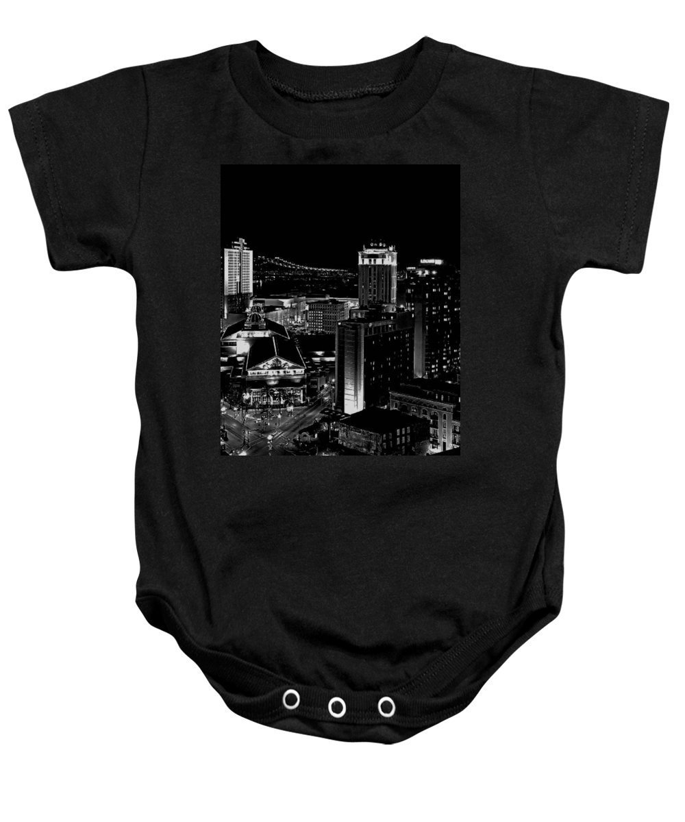 Black And White Baby Onesie featuring the photograph Nola By Nite by Robert McCubbin