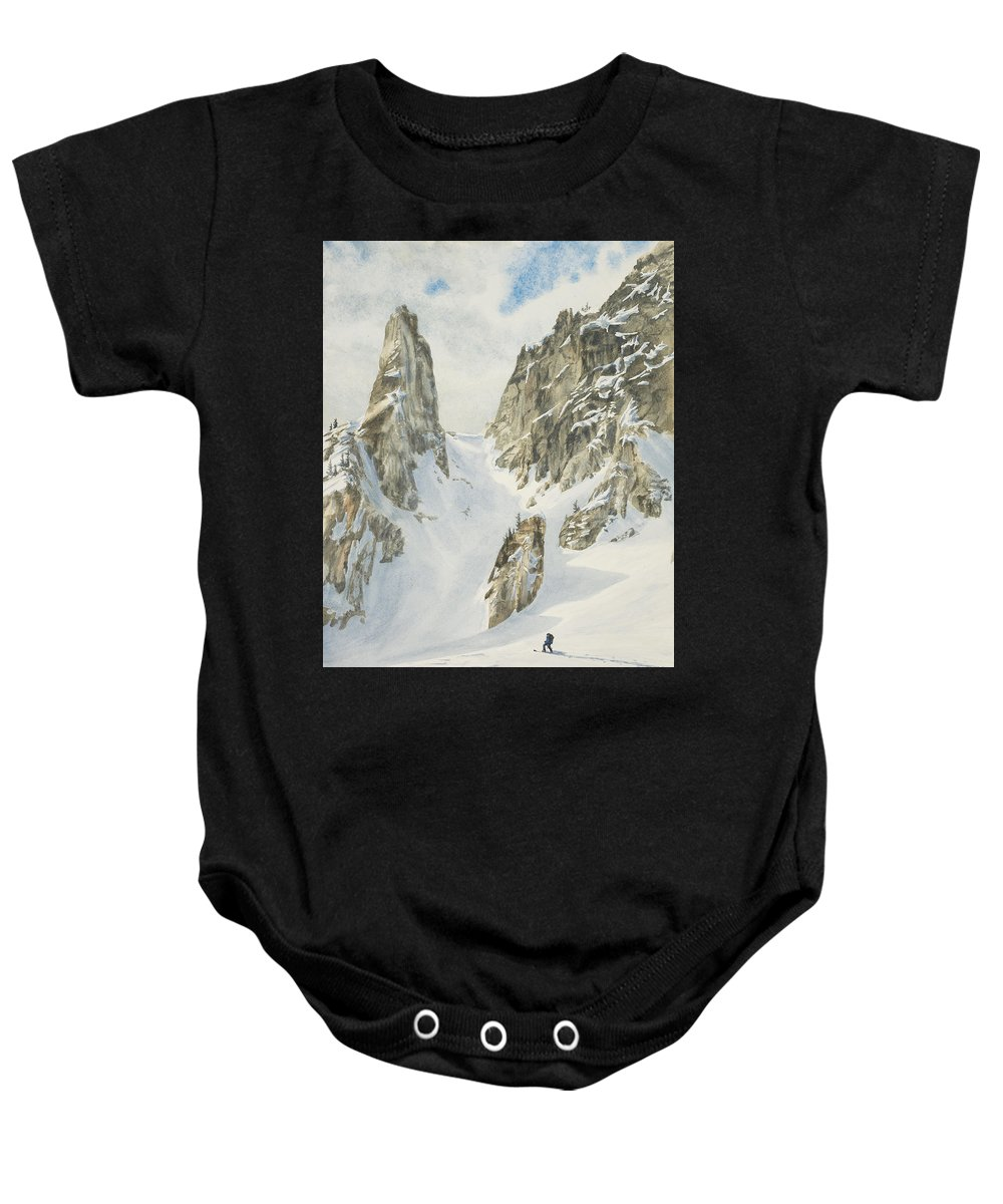 Skiing Baby Onesie featuring the painting North by Link Jackson