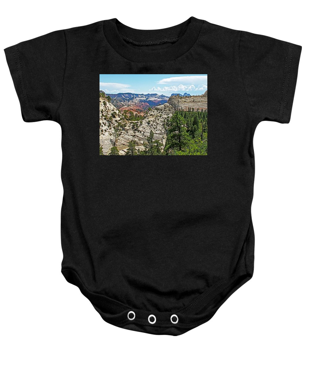Northgate Peaks Trail From Kolob Terrace Road In Zion National Park Baby Onesie featuring the photograph Northgate Peaks Trail From Kolob Terrace Road In Zion National Park-utah by Ruth Hager