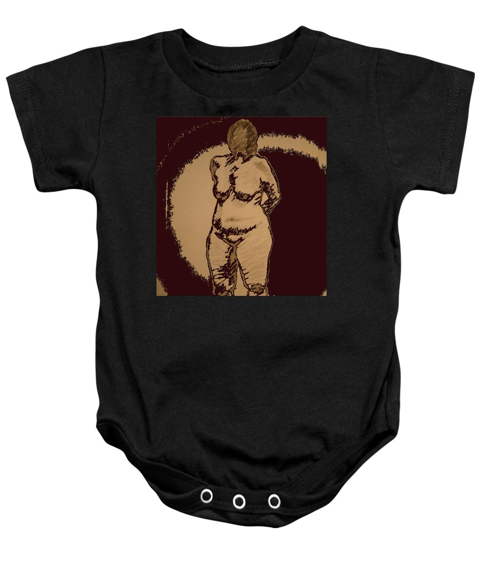 Genio Baby Onesie featuring the mixed media Nude Acting by Genio GgXpress