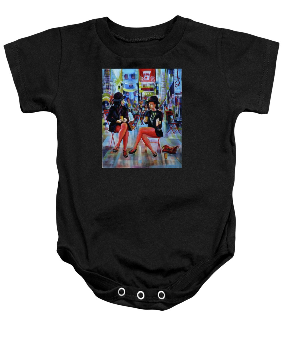 Urban Landscape Baby Onesie featuring the painting Nyc Red Chairs by Anna Duyunova