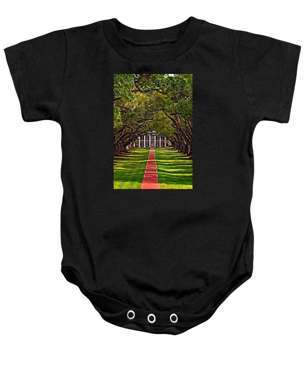 Oak Alley Plantation Baby Onesie featuring the photograph Oak Alley II by Steve Harrington