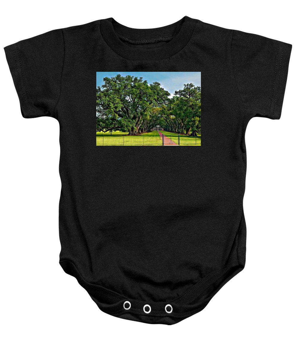 Oak Alley Plantation Baby Onesie featuring the photograph Oak Alley Plantation 2 by Steve Harrington