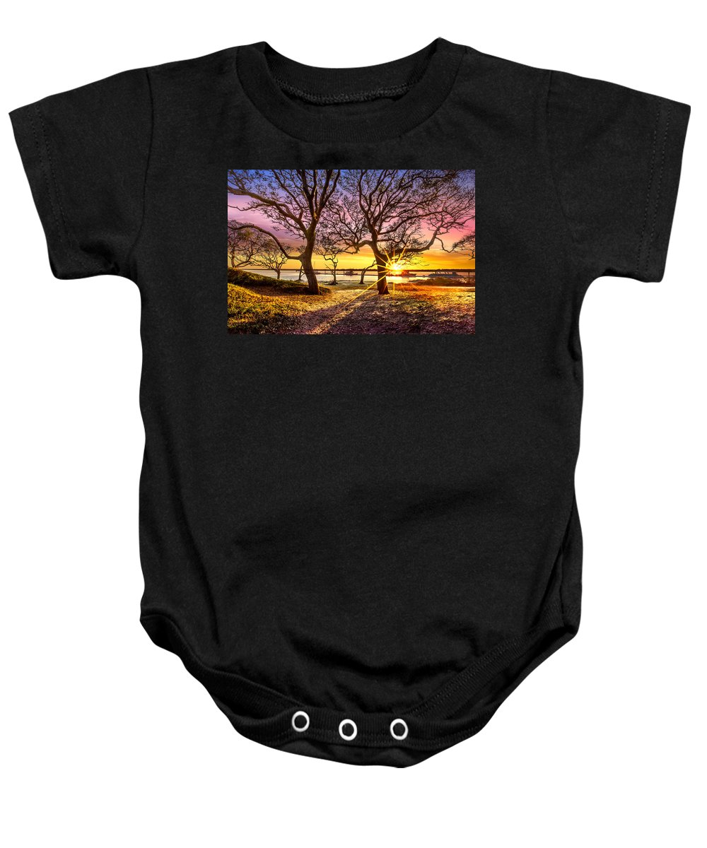 Boats Baby Onesie featuring the photograph Oak Trees At Sunrise by Debra and Dave Vanderlaan