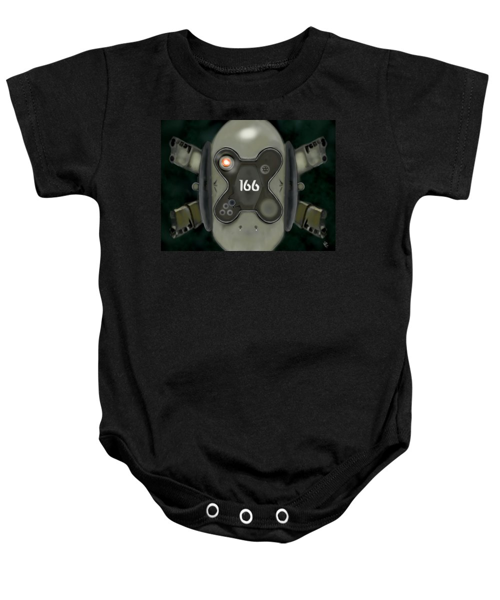 Oblivion Baby Onesie featuring the digital art Oblivion Drone by Mathieu Lalonde