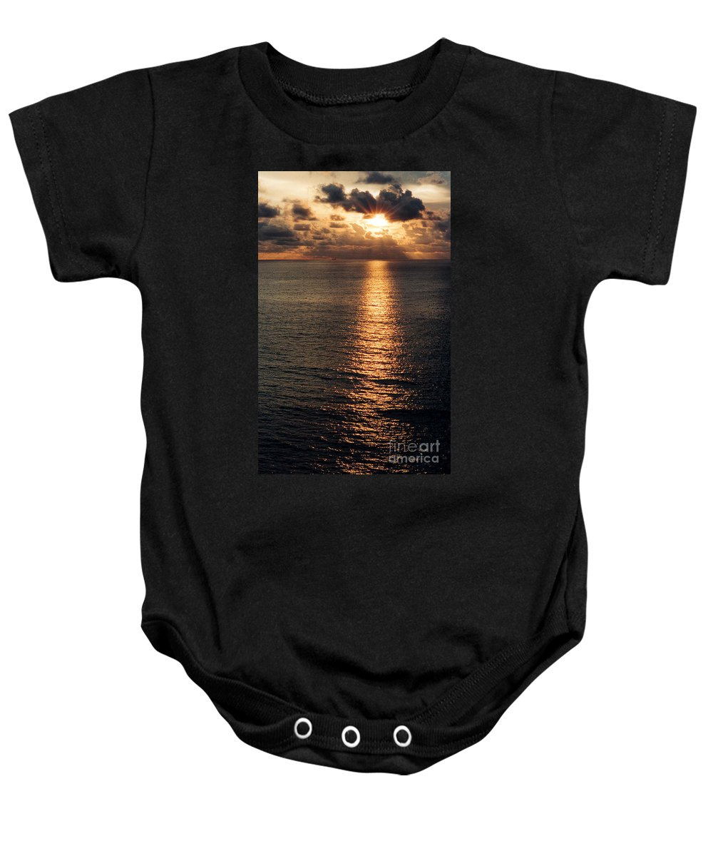 Ocean Baby Onesie featuring the photograph Ocean Sunset by Mike Nellums
