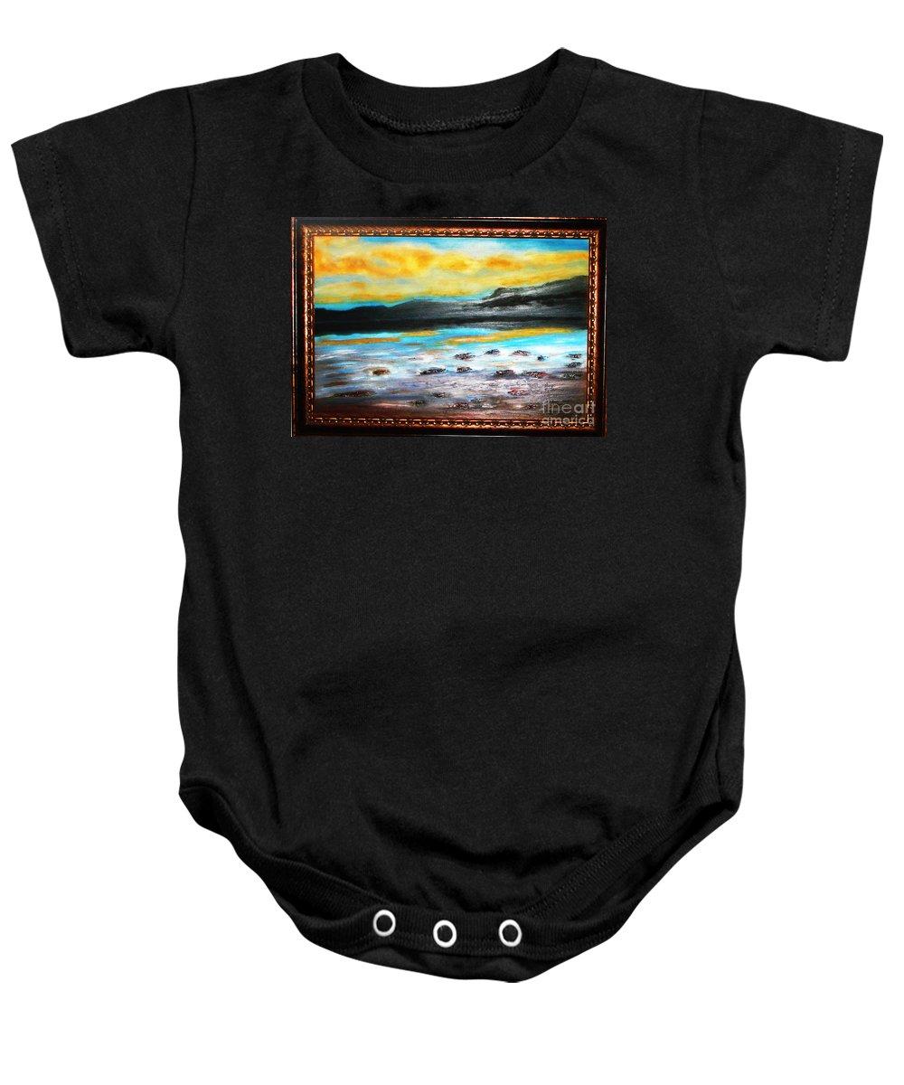 Oil Painting Baby Onesie featuring the painting Ocean View by Yael VanGruber