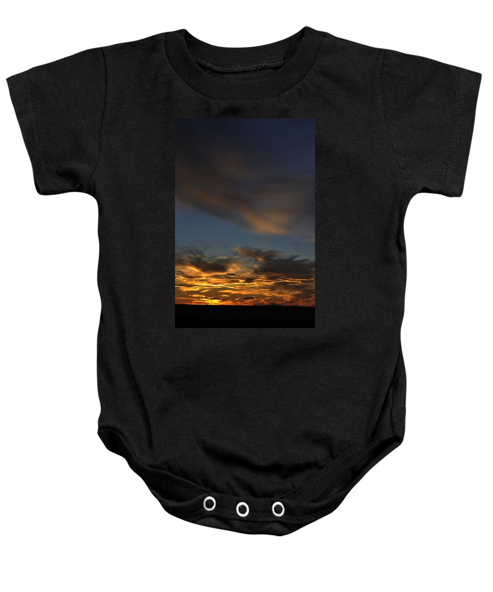 Landscape Baby Onesie featuring the photograph October Sunset by Pam Romjue