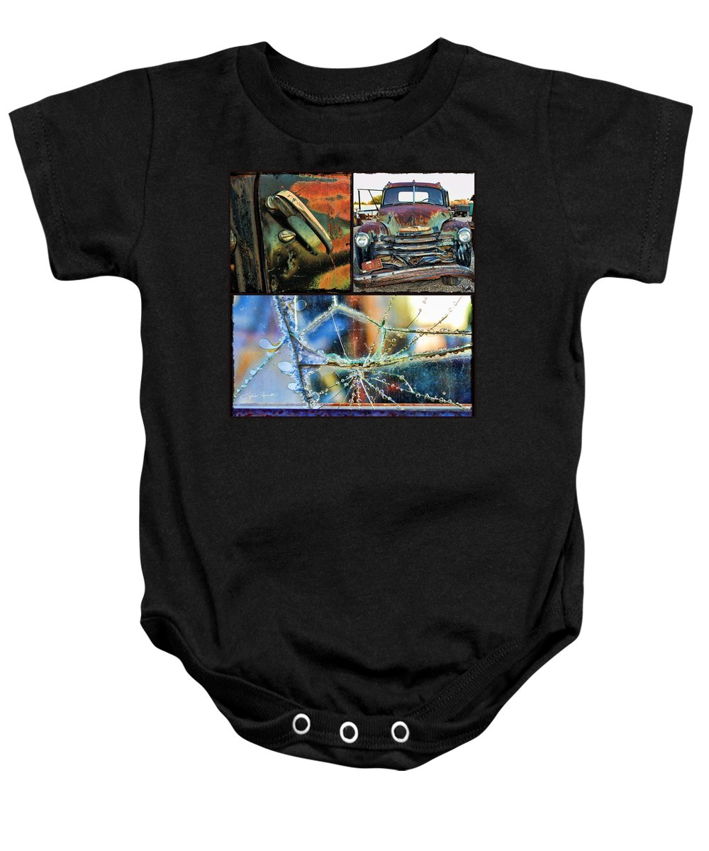 Collage Truck Baby Onesie featuring the photograph Ode To Old Truck by Sylvia Thornton