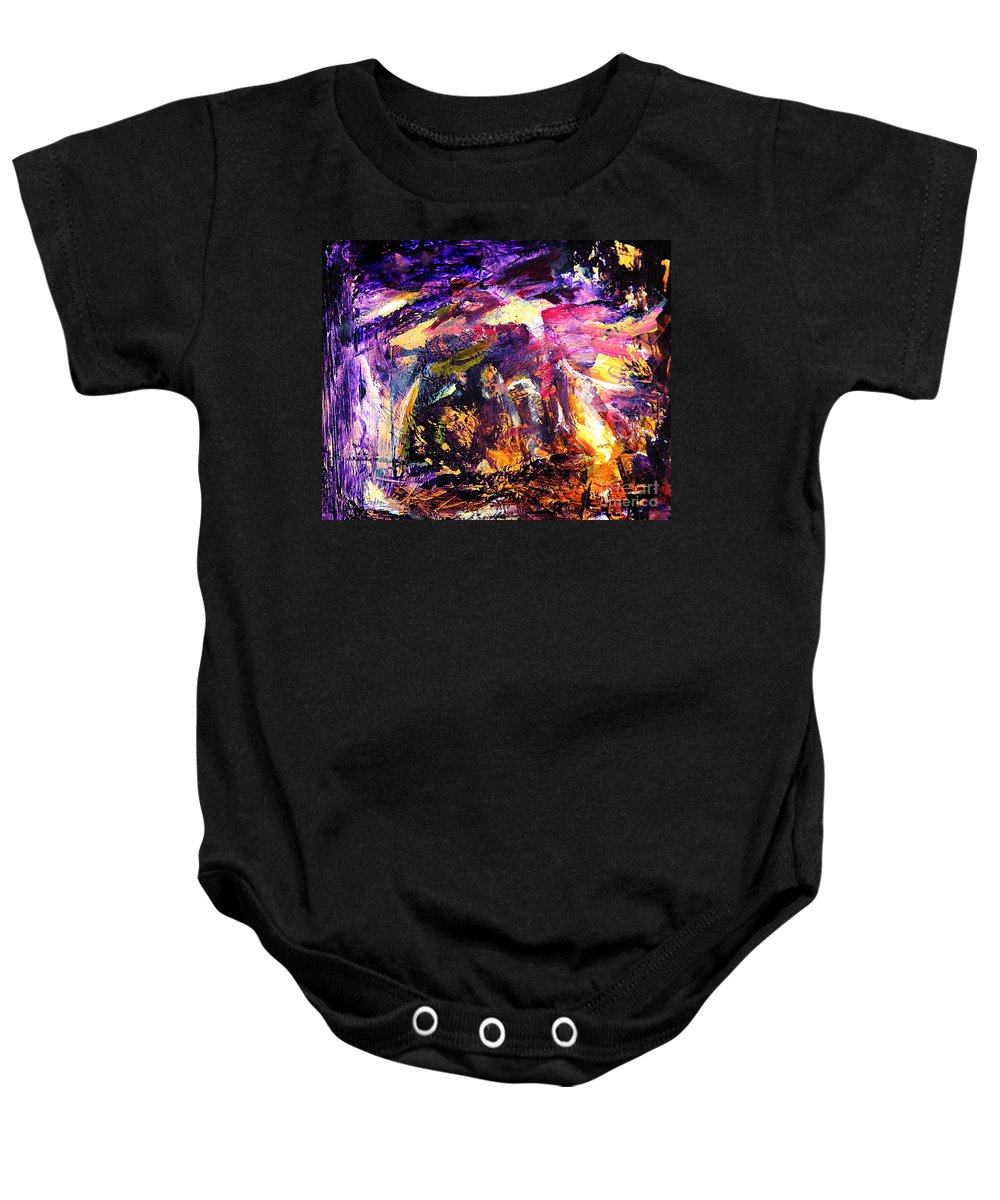 Abstract Baby Onesie featuring the painting Oh Holy Night by Julianne Felton
