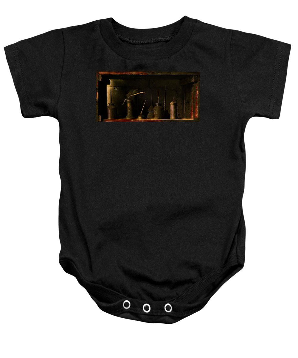 Garage Baby Onesie featuring the photograph Oil And Grease by John Anderson